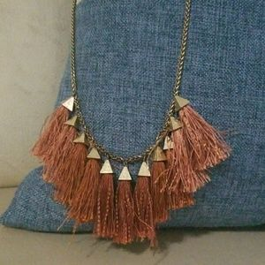 Lucky Brand fringe necklace rust orange
